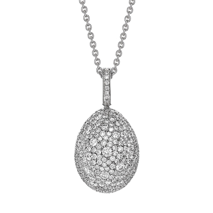 White Gold Diamond Egg Pendant | Fabergé