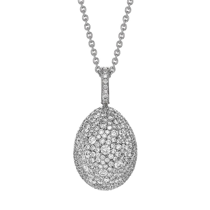 White Diamond & White Gold Fabergé Egg Pendant