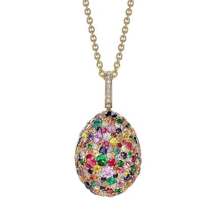 Yellow Gold Multicoloured Gemstone Egg Pendant | Fabergé