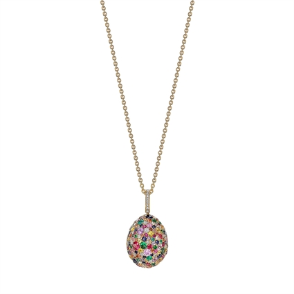 Fabergé Egg Pendant - Fabergé Emotion Multi-Coloured Pendant (Yellow Gold Grains)