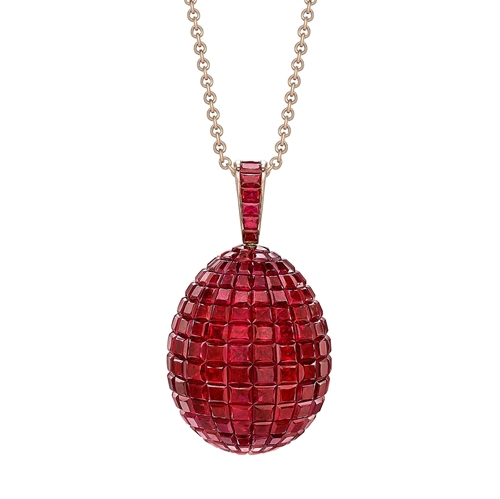 Yellow Gold Mosaic Ruby Egg Pendant | Fabergé