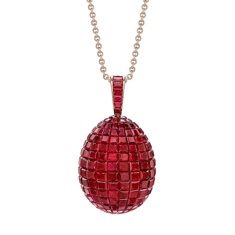 Yellow Gold Mosaic Ruby Egg Pendant | Fabergé