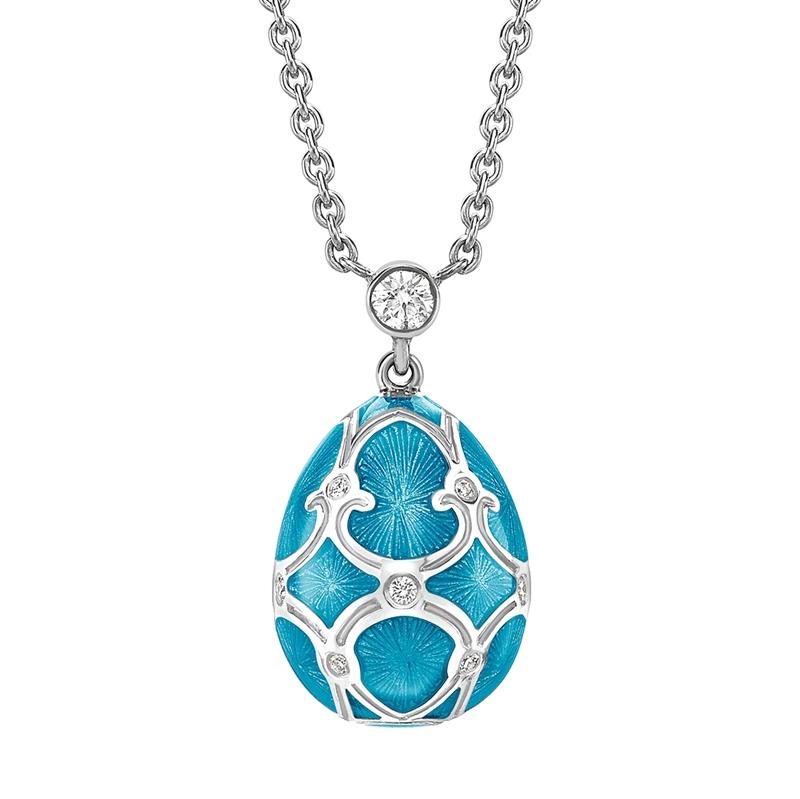 White Gold Diamond & Teal Guilloché Enamel Petite Egg Pendant | Fabergé