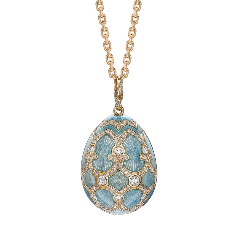 Yellow Gold Diamond & Turquoise Guilloché Enamel Grand Egg Pendant | Fabergé