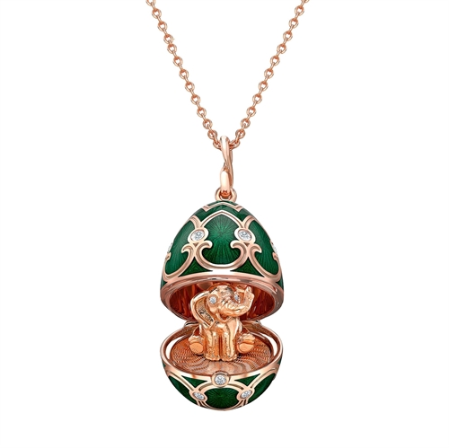 Rose Gold Diamond & Green Guilloché Enamel Elephant Surprise Locket | Fabergé