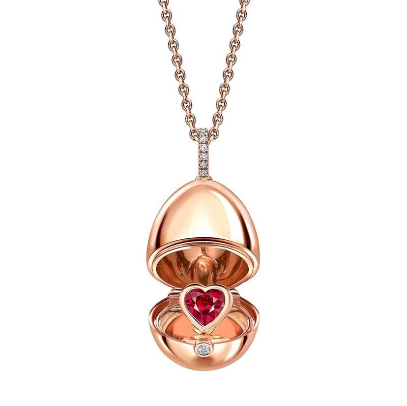 Ei-Anhänger aus 18 Karat Roségold mit Diamanten und Rubinherz-Überraschung von Fabergé