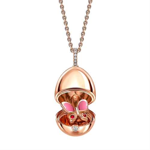 18K Rose Gold, Pink Sapphire & Diamond Butterfly Surprise Egg Pendant