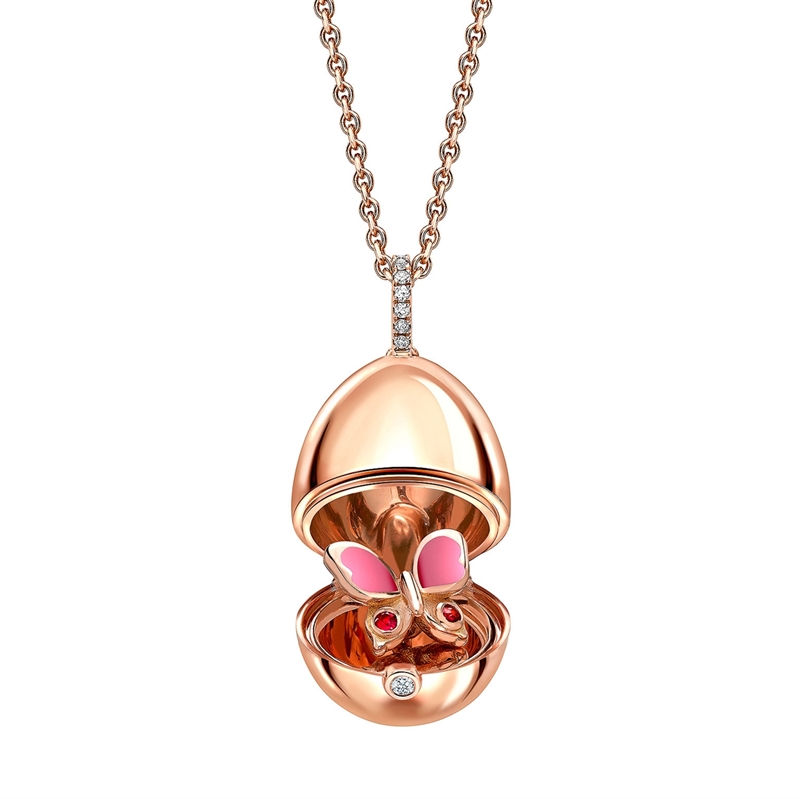 18K Rose Gold, Sapphire & Diamond Egg Pendant from Fabergé