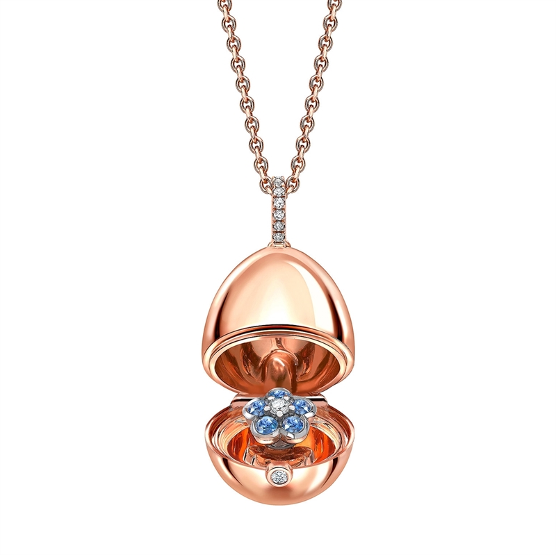 Rose Gold Blue Sapphire Forget Me Not Surprise Locket | Fabergé