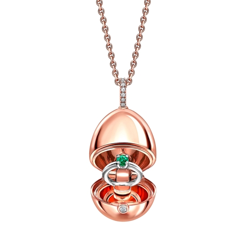 18k Rose Gold Locket with Diamond Set Bail and Emerald Ring Surprise