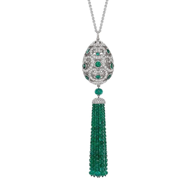 Impératrice White Gold & Emerald Tassel Pendant - Fabergé