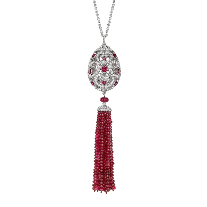 Impératrice White Gold & Ruby Tassel Pendant I Fabergé