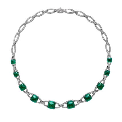 Empress White Gold 54.23ct Sugarloaf Emerald & Diamond Necklace | Fabergé
