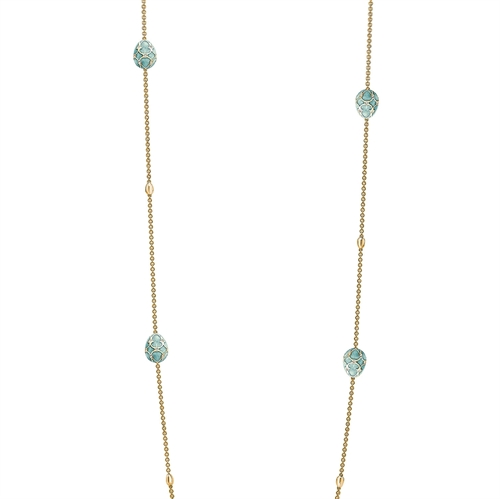 Heritage Yellow Gold Diamond & Turquoise Guilloché Enamel Sautoir Necklace