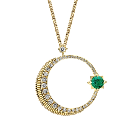 Crescent Yellow Gold Emerald & Diamond Pendant | Fabergé