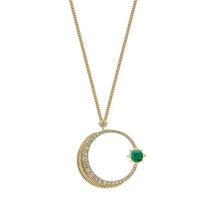 Crescent Yellow Gold Emerald & Diamond Pendant | Fabergé