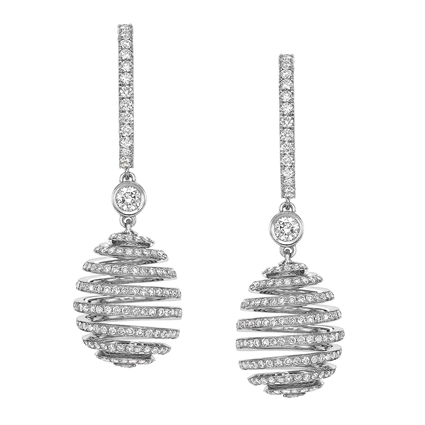White Gold Diamond Pavé Spiral Egg Drop Earrings | Fabergé