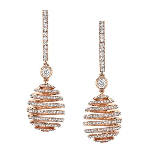 18K Rose Gold Diamond Spiral Hoop Drop Earrings