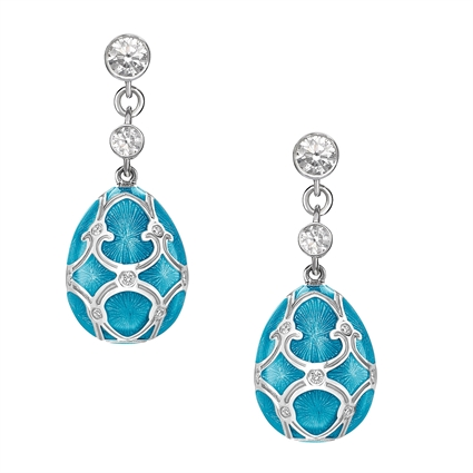 White Gold Diamond & Teal Guilloché Enamel Egg Drop Earrings | Fabergé