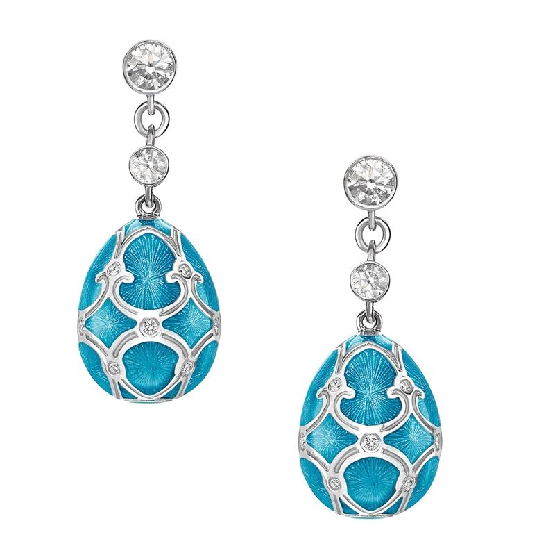 White Gold Diamond & Teal Guilloché Enamel Egg Drop Earrings | Fabergé