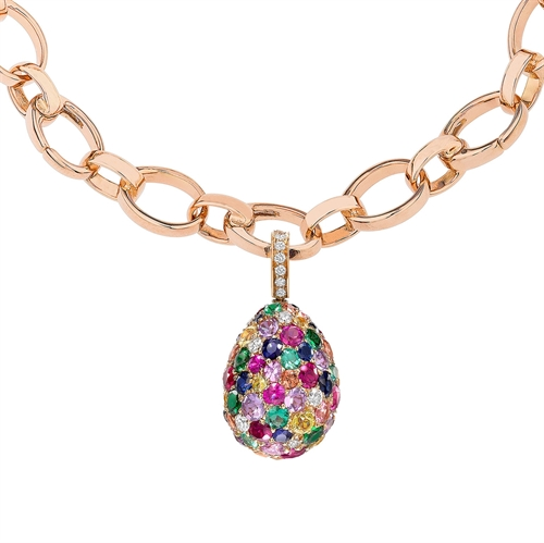 Emotion 18K Rose Gold Diamond, Sapphire, Ruby & Emerald Encrusted Egg Charm
