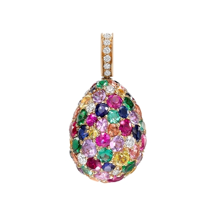 Yellow Gold Multicoloured Gemstone Egg Charm | Fabergé