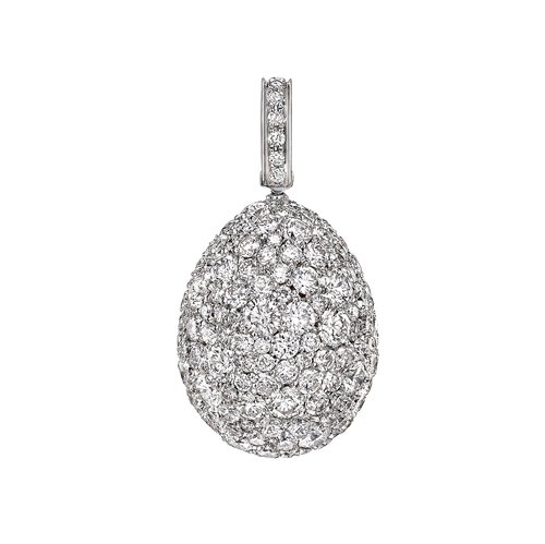 White Gold Diamond Egg Charm | Fabergé
