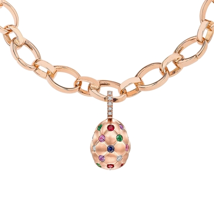 Brushed Rose Gold & Multicoloured Gemstone Set Egg Charm | Fabergé