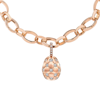 Brushed Rose Gold Diamond Egg Charm | Fabergé