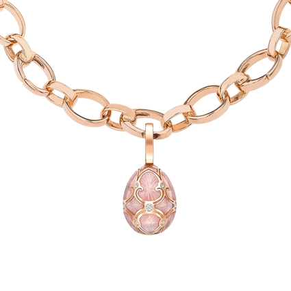 Rose Gold Diamond & Pink Guilloché Enamel Egg Charm | Fabergé