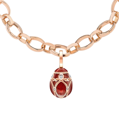 Yelagin 18K Rose Gold Diamond Egg Charm With Red Guilloché Enamel