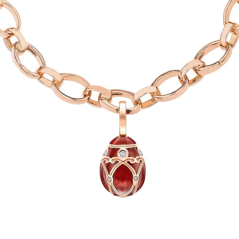 14mm White Diamond, Red Enamel & Rose Gold Fabergé Egg Charm