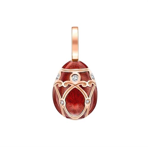 Rose Gold Diamond & Red Guilloché Enamel Egg Charm | Fabergé