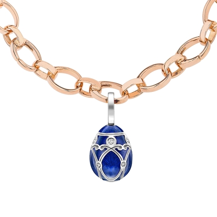 White Gold Diamond & Royal Blue Guilloché Enamel Egg Charm | Fabergé
