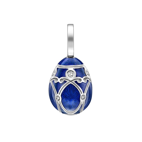 Palais Yelagin Royal Blue Charm – Fabergé egg charm featuring blue guilloche enamel and round white diamonds, set in 18 karat white gold.
