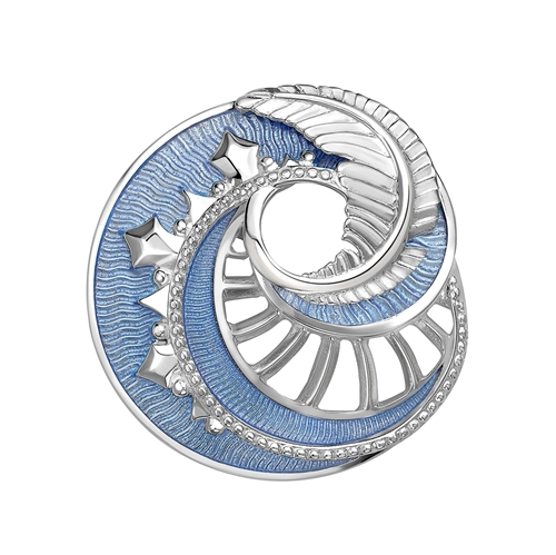 Mystere Sterling Silver Pendant & Brooch With Pale Blue Guilloché Lacquer