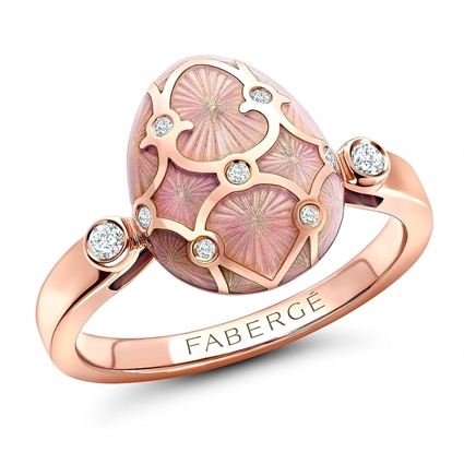 Rose Gold Diamond & Pink Guilloché Enamel Egg Ring | Fabergé