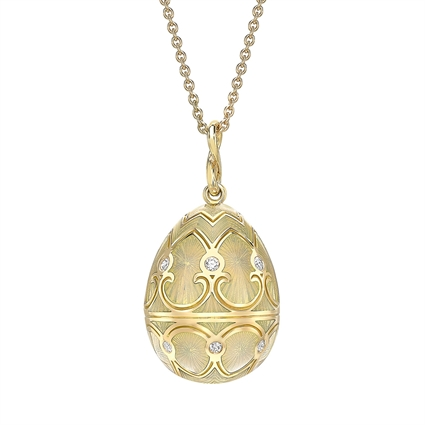 Yellow Gold Diamond & White Guilloché Enamel Egg Pendant | Fabergé