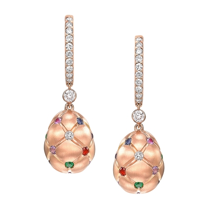 Brushed Rose Gold Diamond & Multicoloured Gemstone Egg Drop Earrings | Fabergé