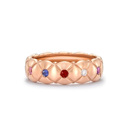 Rose Gold Thin Ring – Treillage Multi-Coloured Rose Gold Matt Thin Ring