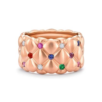 Treillage Brushed Rose Gold & Multicoloured Gemstone Set Grand Ring | Fabergé