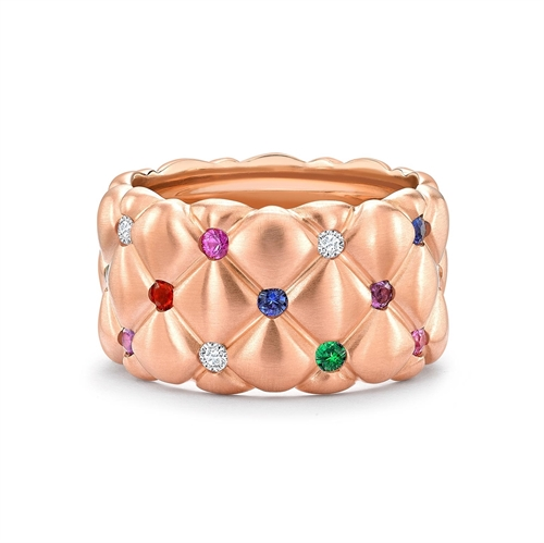 Treillage 18K Brushed Rose Gold Diamond & Multicolour Gemstone Wide Quilted Ring
