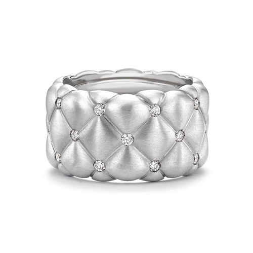 Treillage Brushed White Gold & Diamond Set Grand Ring | Fabergé