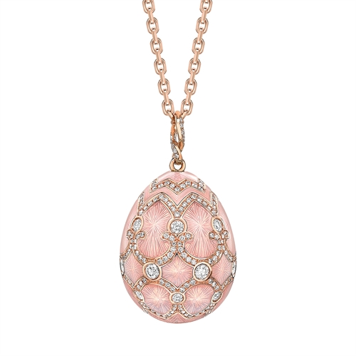 Rose Gold Diamond & Pink Guilloché Enamel Grand Egg Pendant | Fabergé