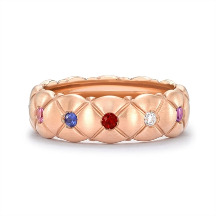 Treillage Brushed Rose Gold & Multicoloured Gemstone Set Ring | Fabergé