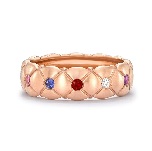 Treillage 18K Brushed Rose Gold Diamond & Multicolour Gemstone Quilted Ring