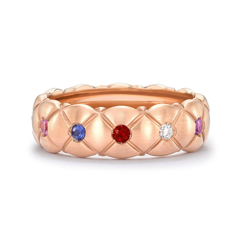 Multicoloured Matt Rose Gold & Gemstone Thin Ring | Fabergé