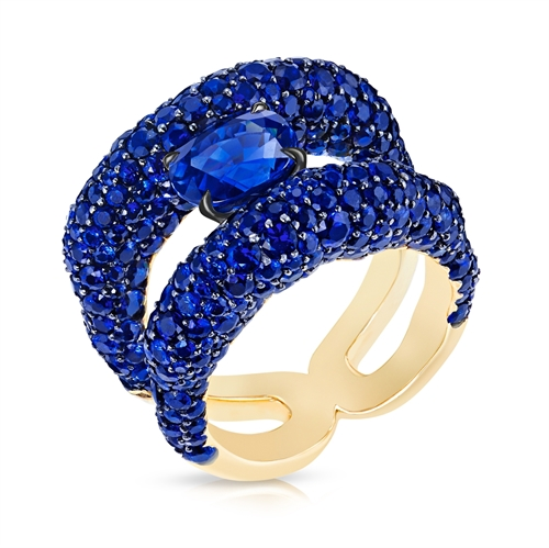 Charmeuse Yellow Gold Blue Sapphire Ring | Fabergé