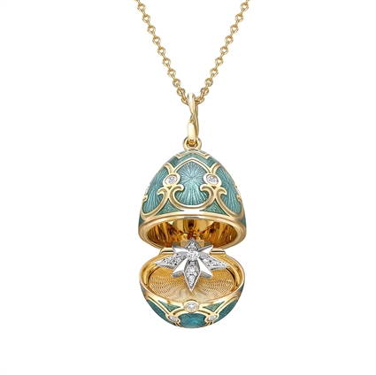 Yellow Gold Diamond & Teal Guilloché Enamel Trembling Star Surprise Locket | Fabergé