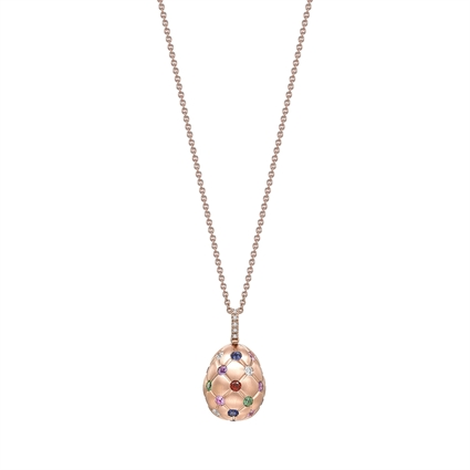 Faberge Egg Pendant -  Treillage Multi Coloured Rose Gold Matt Pendant